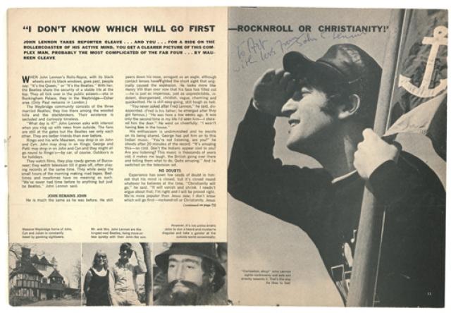 """Джон Леннон : """"Христианство уйдет. Оно исчезнет и усохнет. Не нужно спорить; я прав и будущее это докажет. Сейчас мы более популярны, чем Иисус; я не знаю, что исчезнет раньше - рок-н-ролл или христианство."""""""
