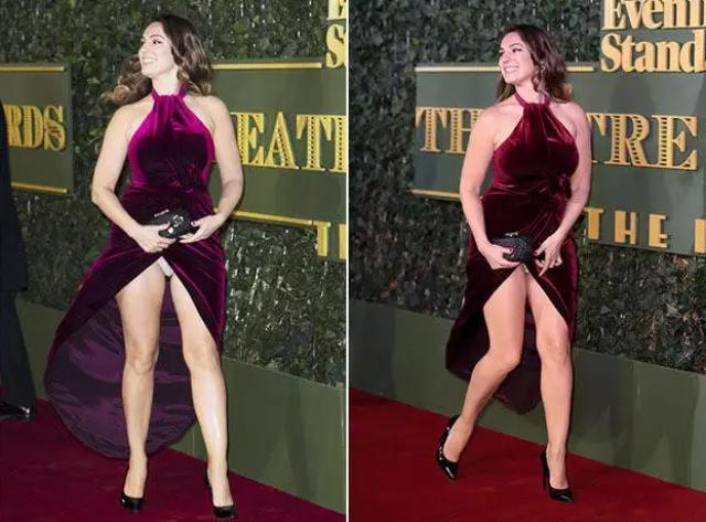 Келли Брук На те же грабли наступила однажды и британская актриса и модель Келли Брук. Внушительный разрез платья сыграл злую. шутку во время дефилировали по красной дорожке, в мгновенье ока пустив под откос все попытки выглядеть эффектно и сексуально.