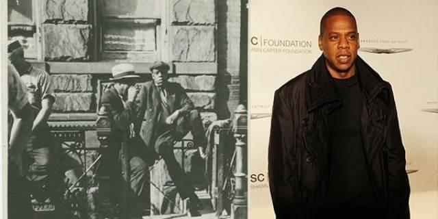 Рэпер Джей Зи и житель Гарлема в 1939 году.