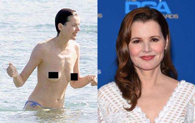 Джина Дэвис никогда не обнажалась в фильмах, зато оголилась на пляже. Тогда-то ее и сфотографировали папарацци.