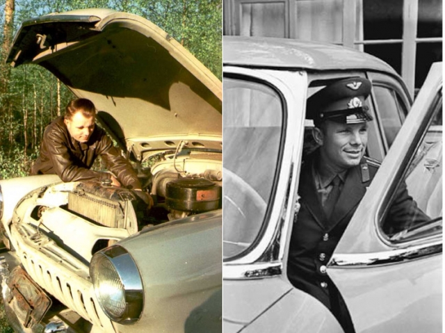 """После полета Гагарина наградили бежевой """"Волгой"""" с номерами 12-04 ЮАГ (дата полета и инициалы). У следующих космонавтов на именных машинах сохранились буквы ЮАГ, а цифрами обозначалась также дата полета."""