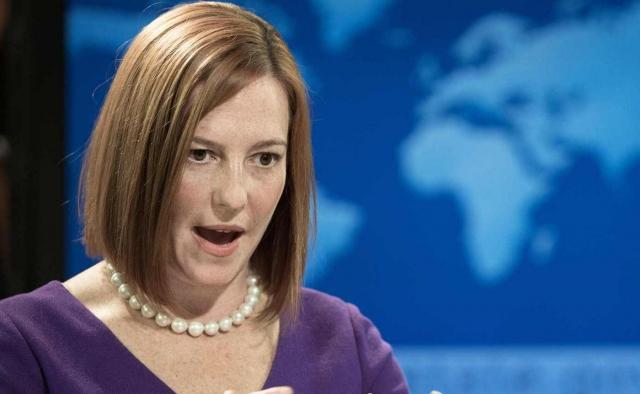 Джен Псаки. Девушка стала выступать в качестве официального представителя с марта 2014 года Государственного департамента США и регулярно озвучивала точку зрения своего ведомства на украинские события.