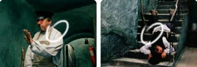 Дворник готовится увидеть бритого Кису, и... падает в обморок. Но, на лестнице лежит явно не Никулин в образе дворника, а совсем другой актер. Да еще и в жилетке, а не фартуке!