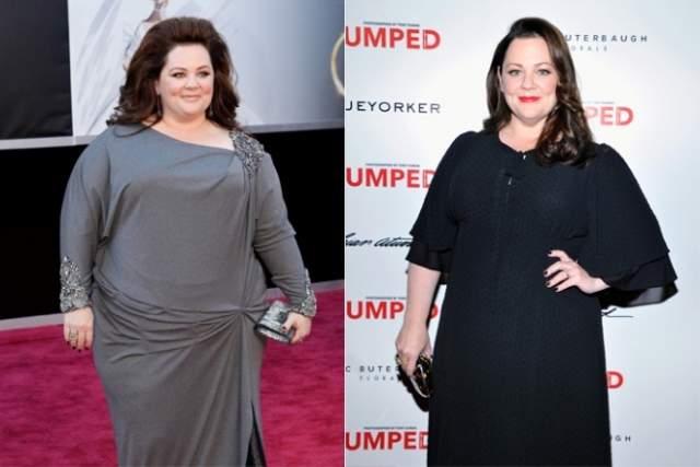 Мелисса Маккарти, 48 лет. Вес: 110 кг, рост: 157. Актриса - одна из тех людей, кто не только принимает себя, но еще и очень любит свои складочки. Мелисса не сидит ни на каких диетах и балует себя сладостями.