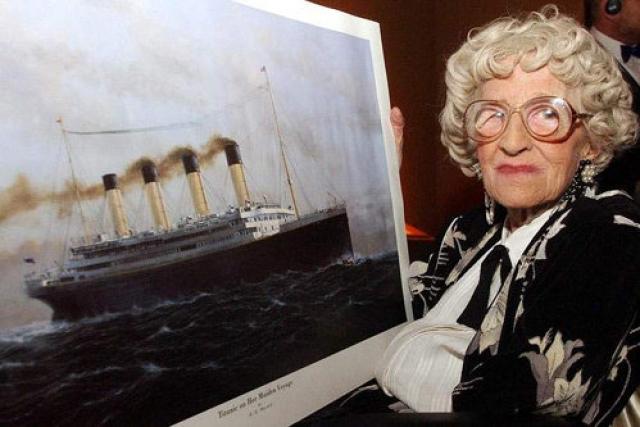 """Миллвина Дин - англичанка, которая была последней из выживших пассажиров """" Титаника """". Умерла 31 мая 2009 года в возрасте 97 лет в доме престарелых в хэмпширском Эшурсте в 98-ю годовщину спуска """" Титаника """" на воду. Ее прах был развеян по ветру 24 октября 2009 года в порту Саутгемптона, откуда """" Титаник """" начал свой единственный рейс."""