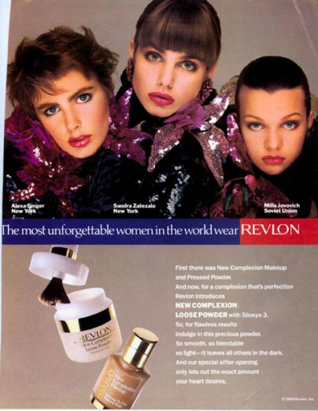 """Йовович участвовала в рекламной кампании Revlon """"Самые незабываемые женщины мира"""". Она заключила контракты с Hugo Boss, Guess, Calvin Klein; гонорары достигали 3 тысяч долларов в день."""
