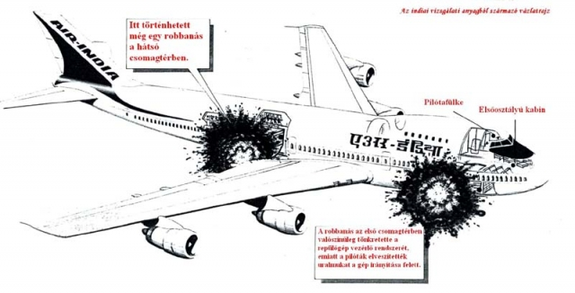 Пилоты рейса AI182 ничего не знали о событиях в Японии. Неожиданно в 07:14:01, когда рейс 182 находился в 70 километрах от Корка, Ирландия, в переднем грузовом отсеке авиалайнера прогремел взрыв.