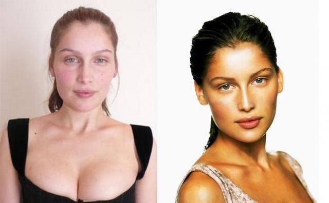 Летиция Каста. Французская фотомодель и актриса также мало похожа на девушку с обложки без мейкапа.
