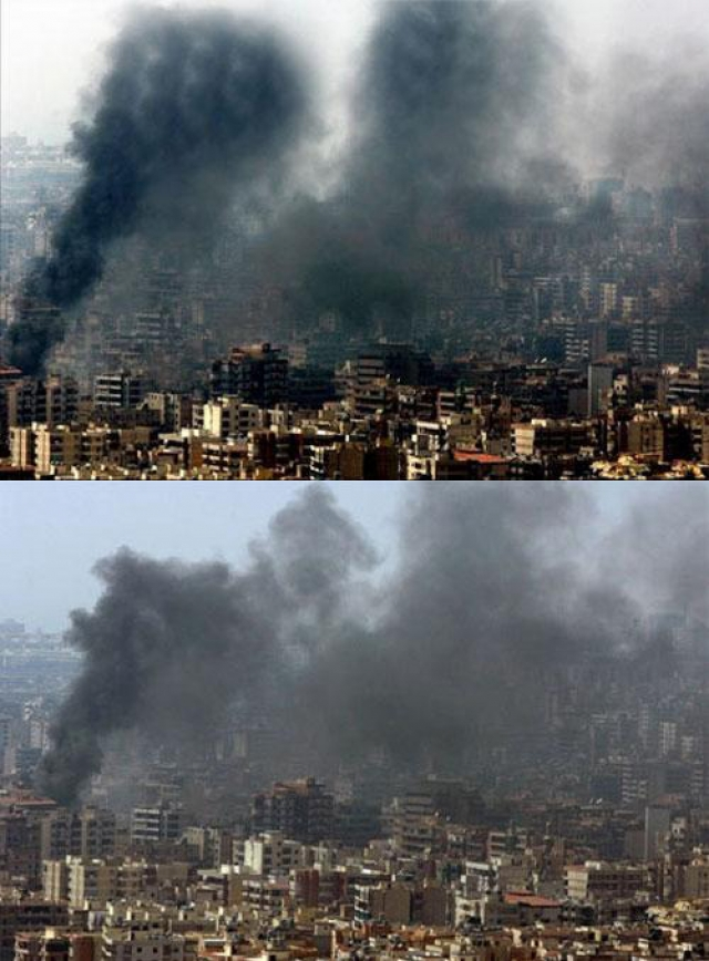 """Ливанский фотограф, работающий для """"Рейтер"""", Аднан Хадж добавил драматизма в фото Бейрута в 2006 году после очередного воздушного удара израильских ВВС. Клубы дыма несколько раз были скопированы, и некоторые части разрушенных зданий выглядят подозрительно идентичными."""