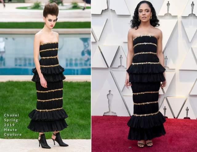 Тесса Томпсон в Chanel. Тесса прекрасно выглядит в этом многоуровневом платье с рюшами, но критики считают, что оно простовато для такого вечера.