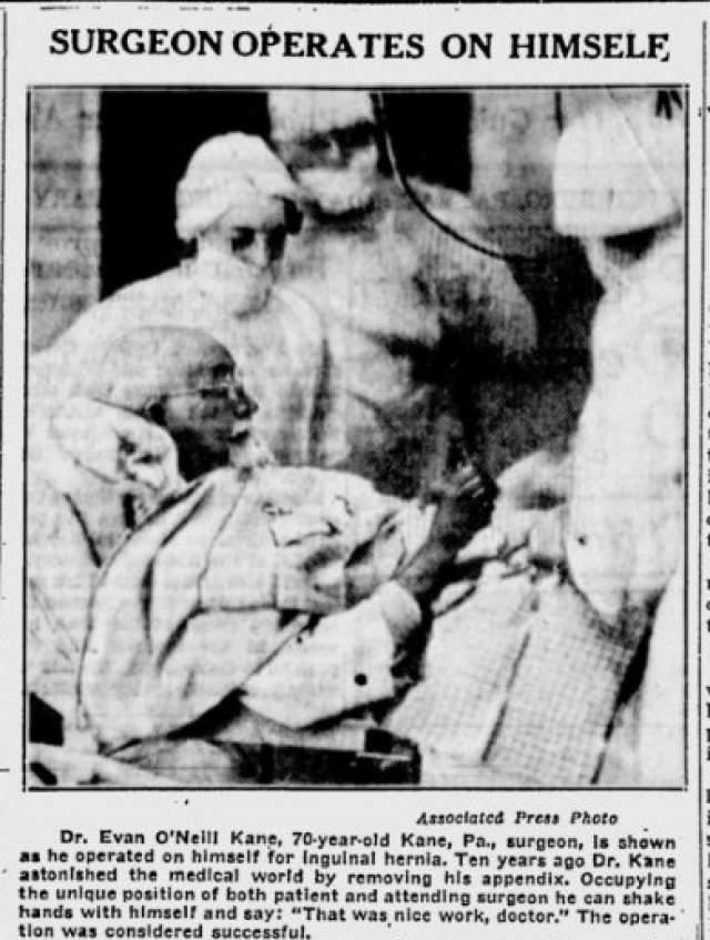 Так он хотел понять, с чем придется столкнуться его пациентам. В 1932 году он сам себе оперировал грыжу, причем уже в почтенном возрасте – ему было 70 лет. Впрочем, в каждой операции ему помогал целый штат ассистентов.