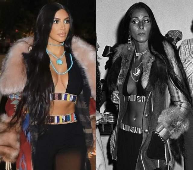"""Ким Кардашьян копирует Шер. В одном из интервью Кардашьян сама призналась, что образ с прямыми длинными волосами она позаимствовала у известной певицы. """"Длинные, прямые волосы, как у Шер – это очень сексуально"""", - сказала Ким."""