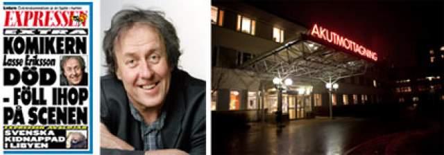 """3 марта 2011 года 61-летний Лассе схватился за грудь и упал во время шоу """"Четыре счастливых мужчины 2"""" на сцене театра Регина в Уппсале, Швеция. К моменту прибытия скорой помощи комик был уже мертв."""