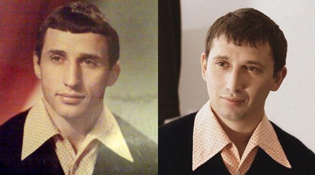 Чтобы продемонстрировать сходство с отцом, сын (справа) даже сделал похожую стрижку, а также позаимствовал сохранившиеся детали гардероба.