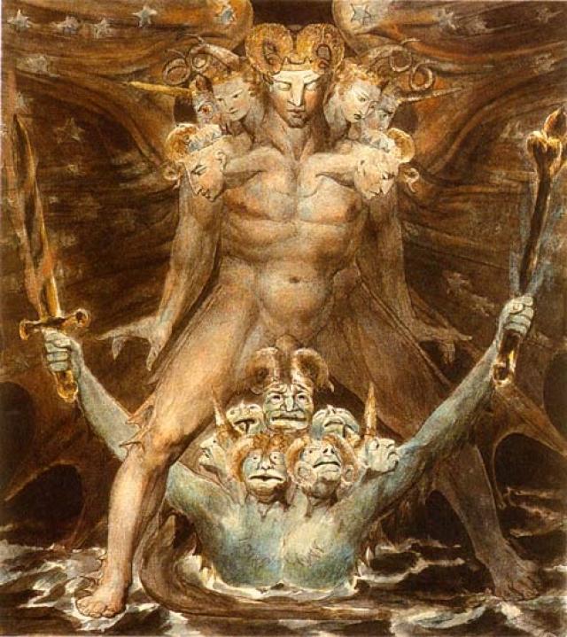 """""""Великий красный дракон и морское чудовище"""", Уильям Блейк. Красный Дракон являлся для художника воплощением дьявола."""