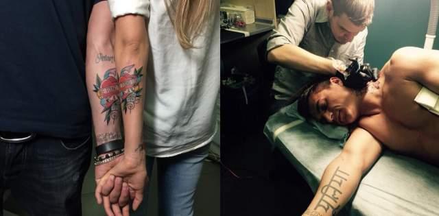 """На шее Влада Топалова красуется татуировка в виде пиона с буквой К, посвященный его возлюбленной Ксении. Также у обоих на руках есть одинаковая татуировка в виде сердца с надписью """"We found love""""."""