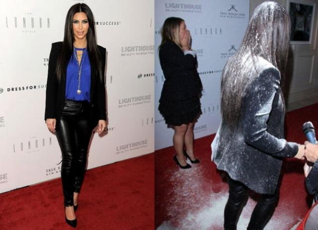 Не нравится Кардашьян и многим другим. Весной 2012 года Ким запустила именную линию линию парфюма, решив отпраздновать событие в одном из ночных клубов в Западном Голливуде. Пока звезда давала интервью, из толпы неожиданно выскочила девушка и щедро обсыпала ее белым порошком.