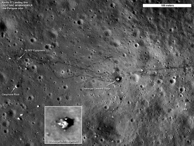 В 2009 году, к сорокалетию полета Аполлона-11 автоматическая межпланетная станция LRO выполнила специальное задание - провела съемку районов посадок лунных модулей земных экспедиций.