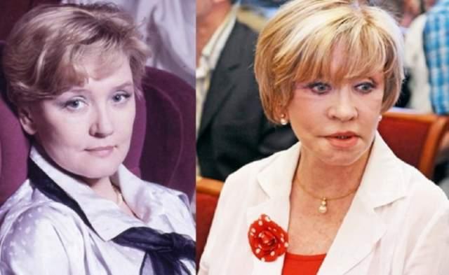 Вера Алентова. В стремлении к ускользающей молодости актриса сделала первую подтяжку лица еще в 1998 году, причем весьма удачно, а вот вторая изменила ее до неузнаваемости.