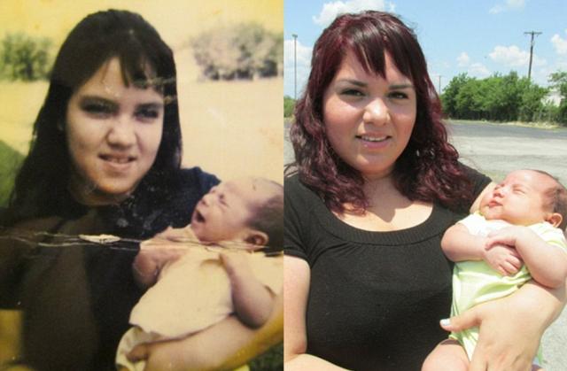 Девушка поделилась фото своей матери (слева) 41 год назад с ее сыном, сравнив со снимком себя и своего первенца.