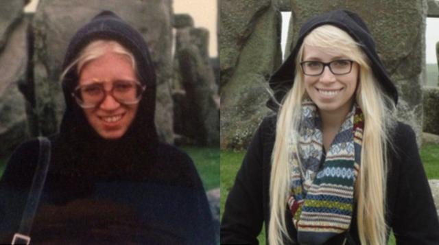 Дочь (справа) демонстрирует сходство с матерью, когда той было 26 лет. Позади обеих один и тот же фон - Стоунхендж.