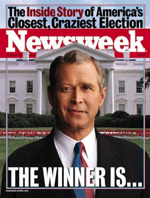 Newsweek, ноябрь 2000. Половина фотографии - Буш, а вторая половина - Гор. Выборы 2000 года стали самыми спорными, скандальными и сумасшедшими за всю историю США.