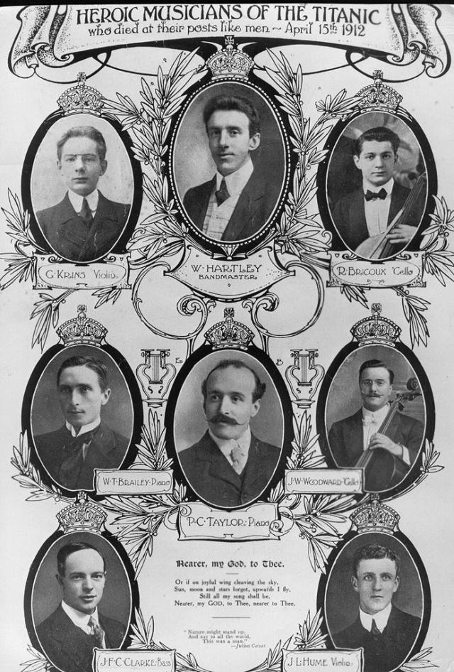 """На """"Титанике"""" играло два оркестра: квинтет под руководством 33-летнего британского скрипача Уолласа Хартли и дополнительное трио музыкантов, которое было нанято, чтобы придать Café Parisien континентальную нотку."""