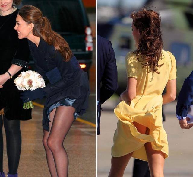 У герцогини Кембриджской Кэтрин провалы случаются не совсем из-за стилистического выбора одежды, а, скорее, из-за ее легкости. Кэтрин регулярно попадает в объективы безжалостных папарацци, когда ветер в очередной раз поднимает подол ее легких платьев.
