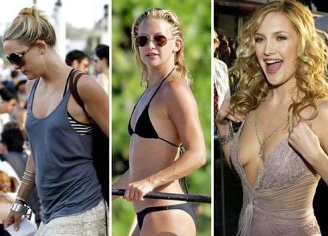 Кейт Хадсон, 39 лет. Актриса увеличила свой скромный первый размер на такой же скромный, но второй, после того, как в 2002 году публично заявила, что считает свой маленький бюст своим самым большим недостатком.
