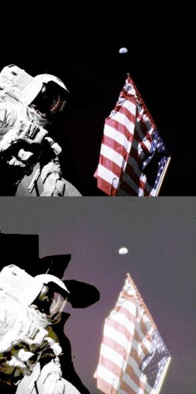 Движение флага могло быть вызвано не ветром, а затухающими колебаниями, возникшими при установке флага. Флаг был закреплен на флагштоке и на горизонтальной телескопической перекладине, прижимаемой к древку при транспортировке.