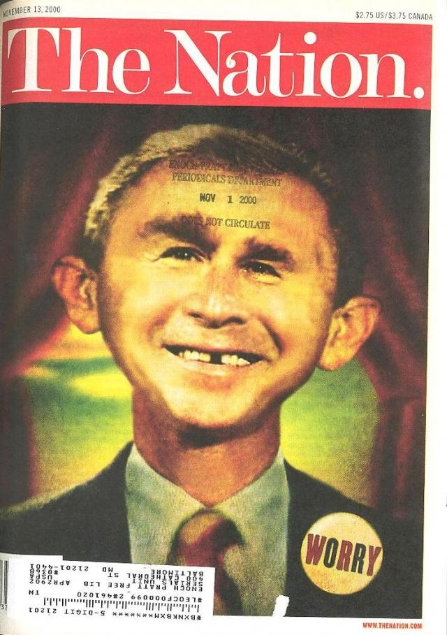 The Nation, ноябрь 2000. Обложку украшает карикатура Брайана Стауффера, а внутри журнала обсуждается развитие событий, которое последует, если Буш станет президентом.