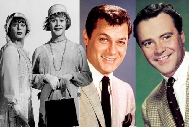 """Тони Кертис и Джек Леммон, """"В джазе только девушки"""". Актеры так вжились в роль, что когда заходили в дамскую комнату в съемочных костюмах, находящиеся там женщины не обращали на них никакого внимания и называли """"девочками""""."""