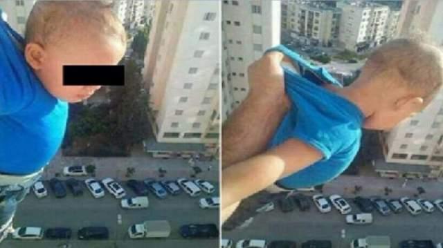 """Ради лайков в Фейсбуке житель Алжира вывесил собственного ребенка за окно. Фотография сопровождалась надписью """"Тысяча лайков или я разожму руку"""". Вместо лайков снимок вызвал негодование пользователей ."""