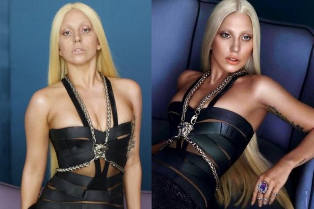 Леди Гага. Светящаяся кожа, отсутствие кругов под глазами и практически сглаженная подмышка - вот результат усердной работы дизайнеров над фото певицы.