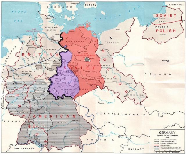 Большая часть усилий американцев была сосредоточена на Саксонии и Тюрингии (на фото выделены красным) , которые должны были с 1 июля 1945 года войти в советскую зону оккупации. Многие из германских исследовательских центров вместе с персоналом были эвакуированы в эти земли, в частности из района Берлина.