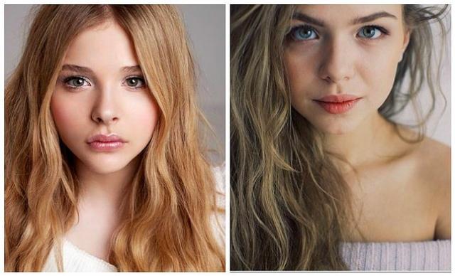 А 20-летняя актриса Таисия Вилкова - копия своей голливудской коллеги Хлои Моретс .