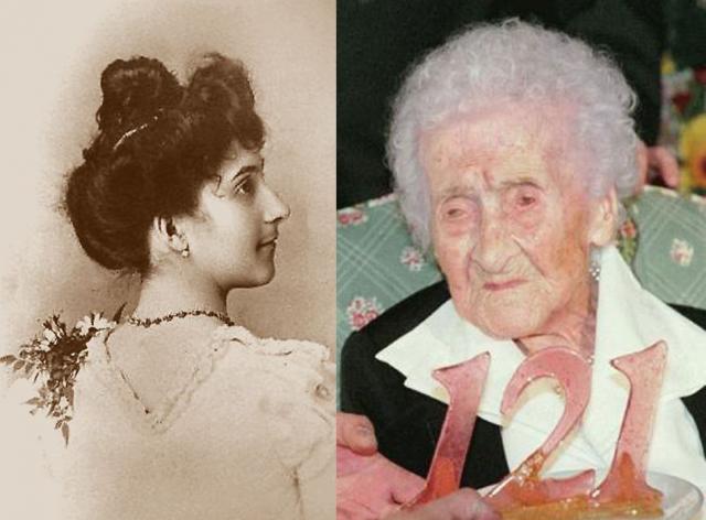 Жанна Кальман, 21 февраля 1875 - 4 августа 1997, прожила 122 года, 164 дня. Родившаяся во французском Арле женщина уникальна не только возрастом, но и образом жизни. В 21 год она вышла за своего довольно богатого троюродного брата и родила ему дочь Ивонн, которая умерла в 1932-м от пневмонии. Единственный внук Кальман погиб в ДТП в 1963 году.
