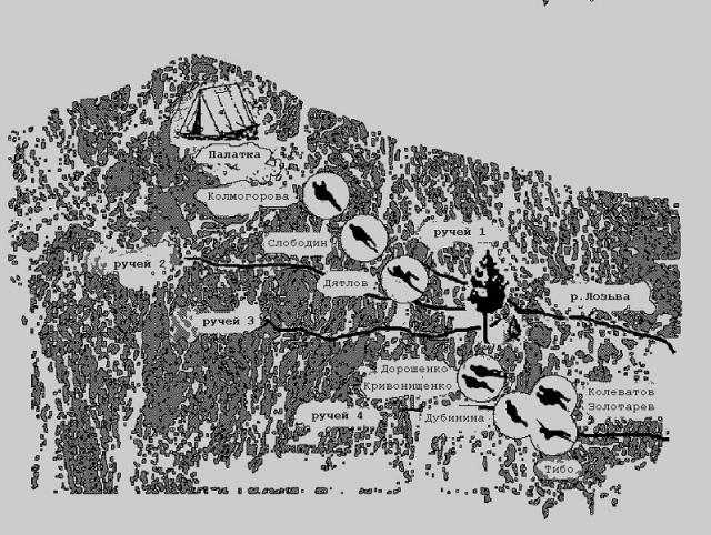 """На рисунке - схема всех обнаруженных тел. Большинство из них были найдены в положении """"головой к палатке"""", и все расположены практически четко на прямой лини от разрезанной боковины палатки, на протяжении более 1,5 километров. Колмогорова, Слободин и Дятлов предположительно погибли на пути обратно в палатку."""