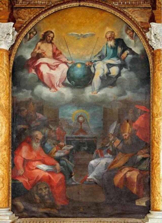 На фреске Прославление Евхаристия 1600 года Иисус и Бог-отец держатся руками на непонятный передатчик с антеннами.