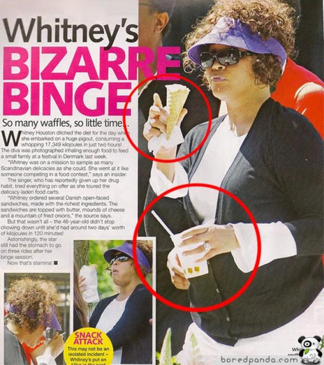Уитни Хьюстон была, видимо, так голодна, что двух рук не хватило.
