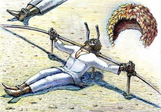Шири (верблюжья шапочка). Один из тюркских народов применял эту пытку по отношению к захваченным рабам. Жертвам наголо обривали головы. Затем убивали верблюда и освежевывали его, натягивая парную еще кожу на головы пленных.