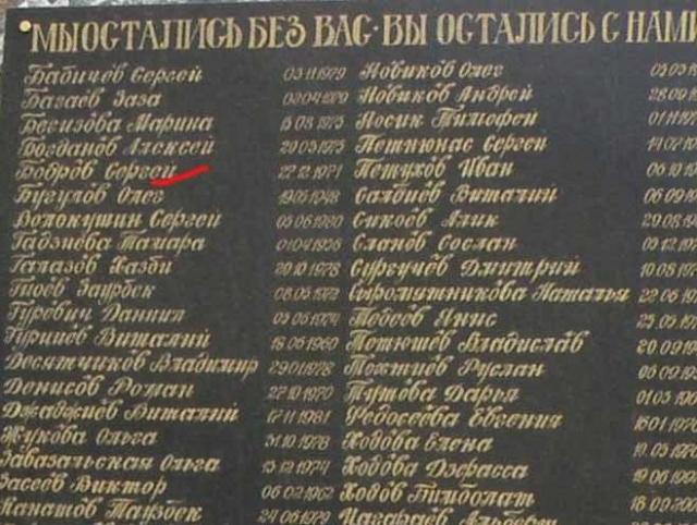 После трагедии пропавшими без вести числятся более ста человек, не были обнаружены и останки Бодрова.