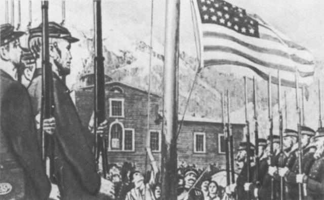 18 октября 1867 года в Новоархангельске была проведена официальная церемония передачи Аляски США. Русские и американские солдаты торжественно промаршеровали по улицам, российский флаг был спущен и поднят флаг США.
