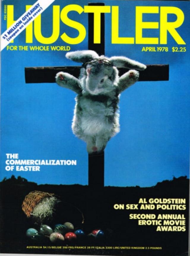Апрельский номер Hustler 1978 года посвящен Пасхе и разоблачает коммерциализацию этого религиозного праздника. Скандал - но никакой эротики.