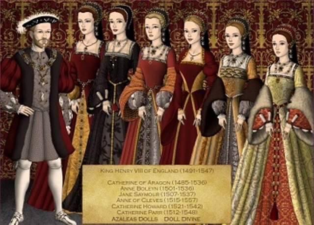 Екатерина Арагонская, родственница в 4-м колене; Анна Болейн, в 7-м колене; Джейн Сеймур, в 5-м колене; Анна Клевская, в 9-м колене; Екатерина Говард, в 7-м колене и Екатерина Парр, в 3-м колене.
