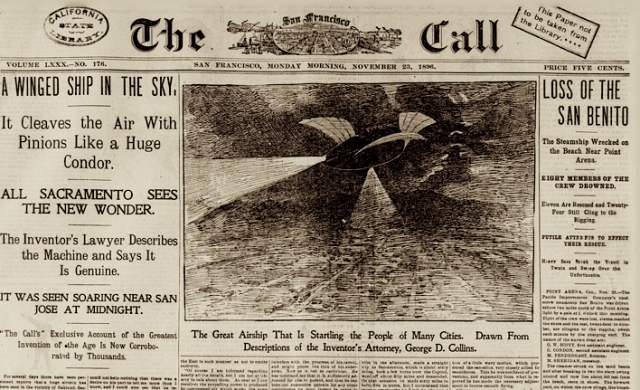 """Наблюдение """"воздушного корабля"""" на среднем западе США, 1896–1897. Кстати, наблюдения загадочных огней в небе регистрируются уже более ста лет."""