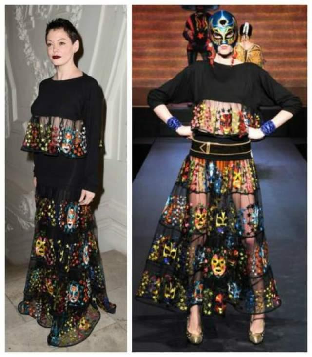 Роуз Макгоуэн в наряде из коллекции Jean Paul Gaultier Spring 2015
