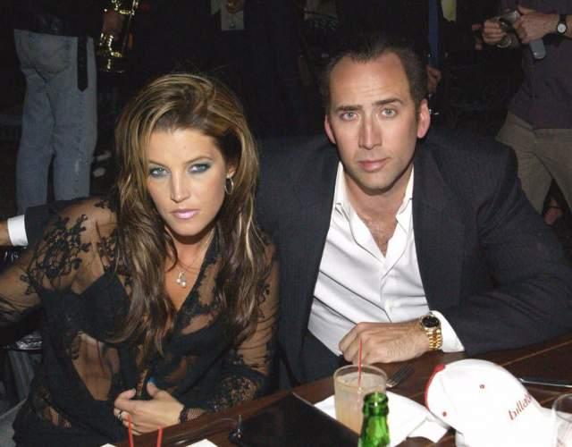 Николас Кейдж и Лиза Мария Пресли. Брак дочери Элвиса и известного актера бурно обсуждался в прессе.