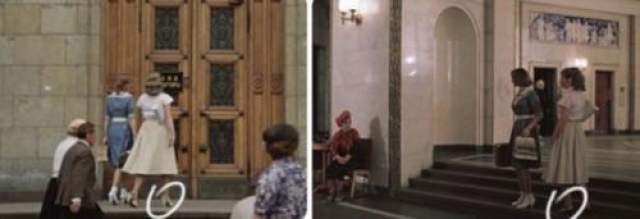 Героиня Ирины Муравьевой подходит к зданию в белых туфлях, а вот внутри она уже в черных.