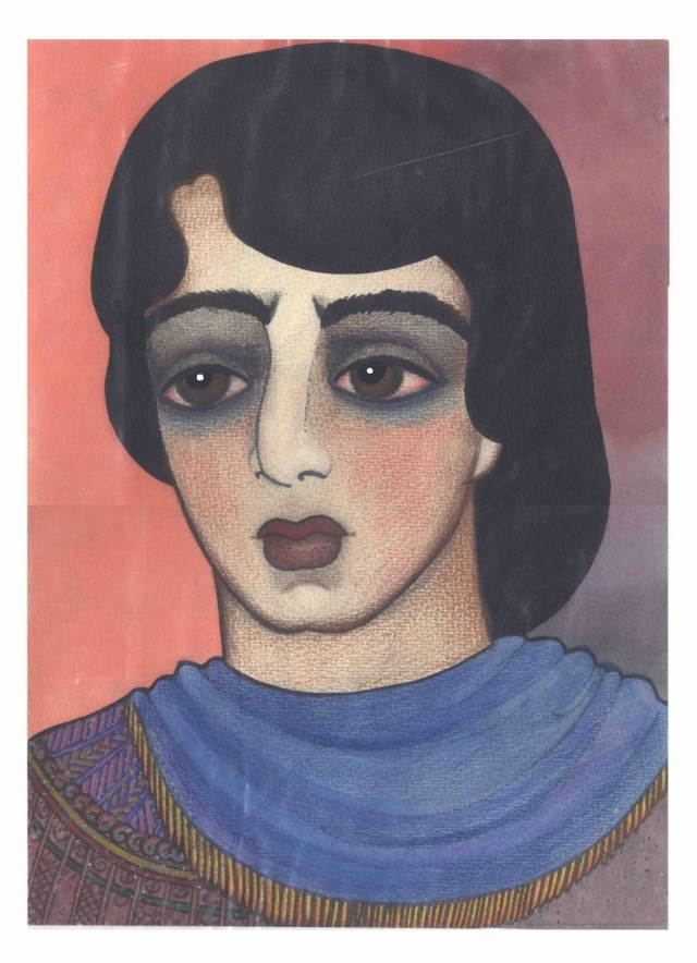 """Неожиданно в ее рисунках появилась индийская тематика. Саша нарисовала десятки портретов Митхуна Чакроборти - актера из индийского фильма """"Танцор диско"""", Индиры Ганди, влюбленных индийских юношей и девушек, автопортрет в виде шестирукой богини."""